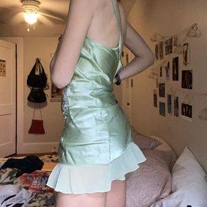 y2k lime green slip dress